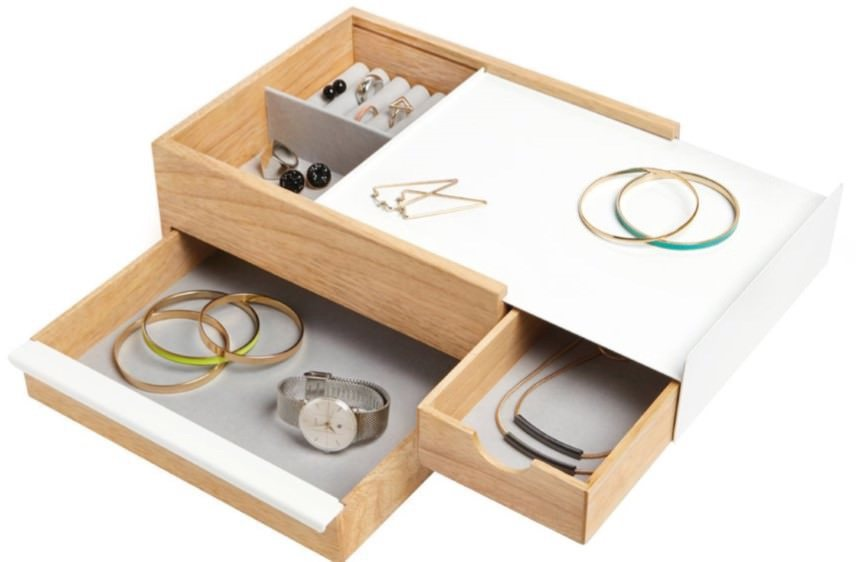 Umbra Stowit Jewelry Box White And Natural