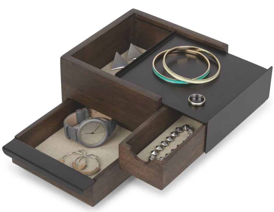 Umbra Mini Stowit Jewelry Box Black And Walnut NB