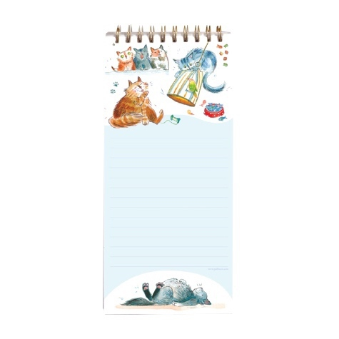 Magnetic Shopping List Pad Happy Cats