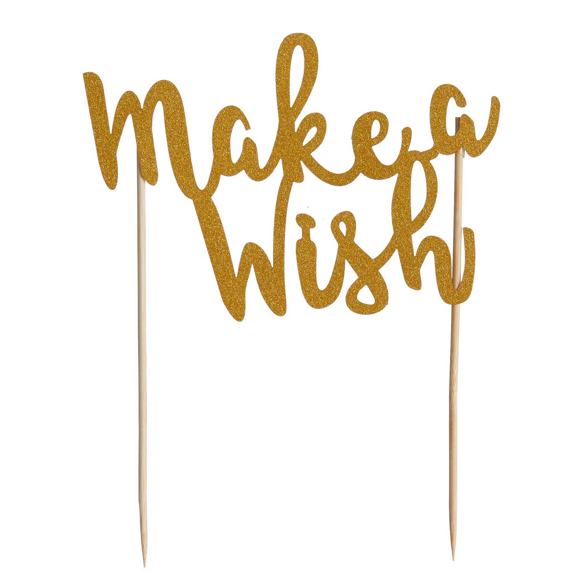 Mason Cash Cake Topper Make a Wish Gold