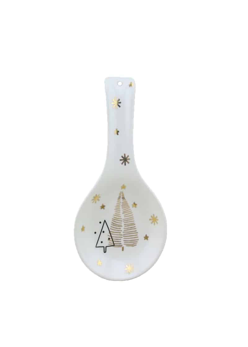 Xmas Spoonrest with Trees White & Gold 24cm