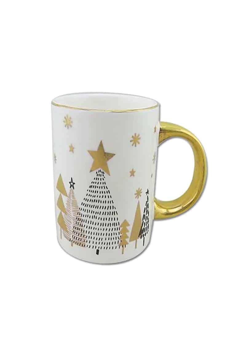 Xmas Mug White & Gold Small with Trees 12cm