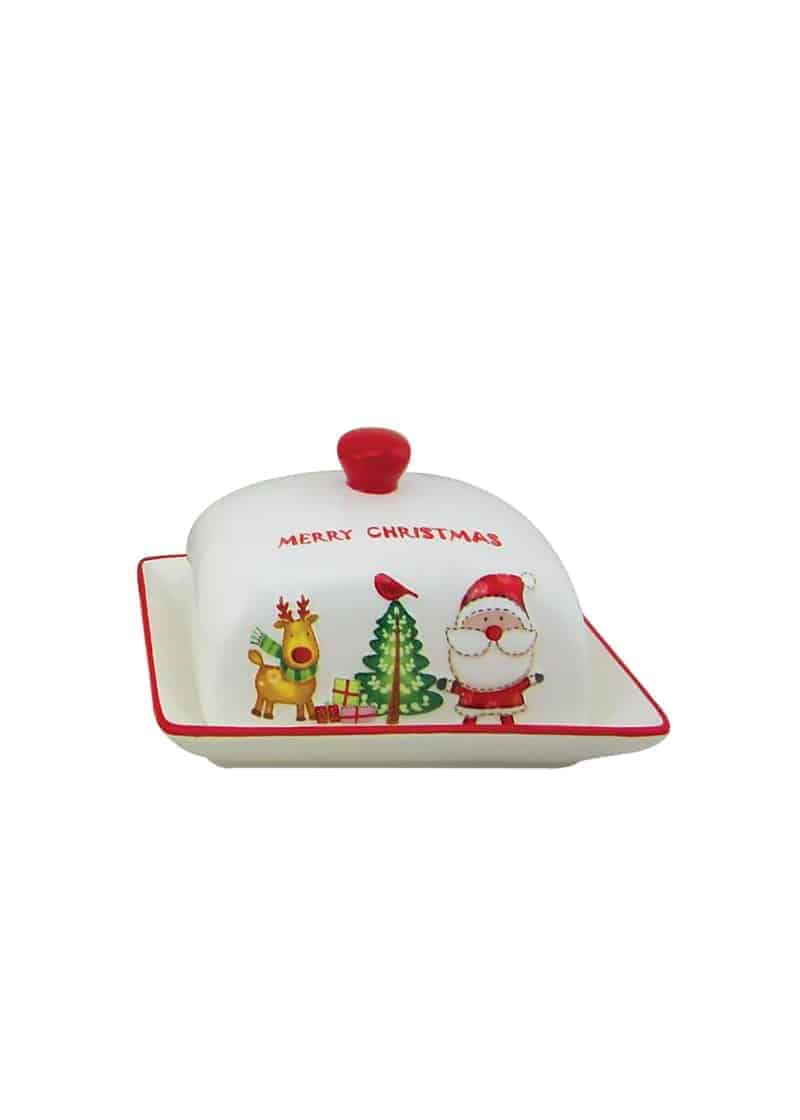 Xmas Butter Dish White & Red with santa 17cm