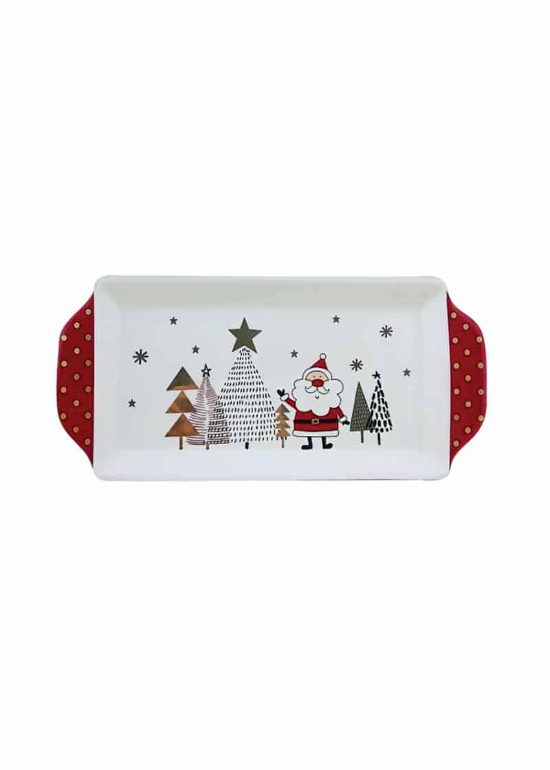 Xmas Plate White with Red Ribbon Handles 34cm