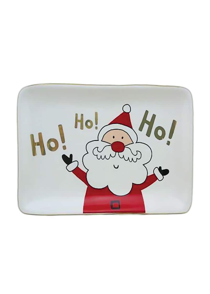 Xmas Plate White with Santa Rectangle 16cm
