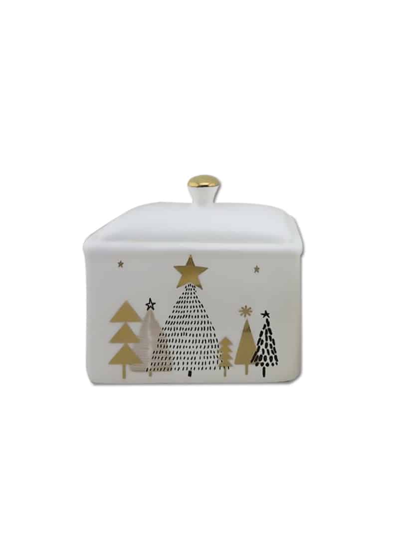 Xmas Cannister White & Gold with Trees 16cm