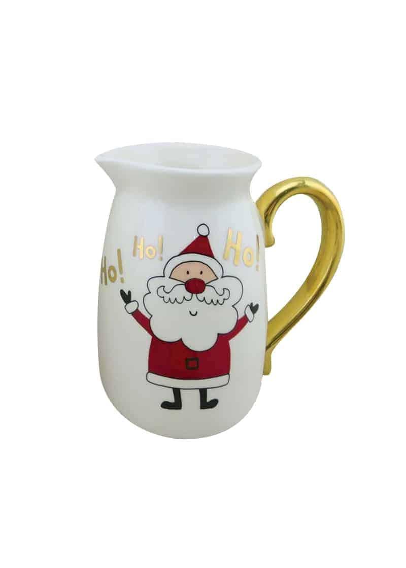 Xmas Water jar White & Gold with Santa 18cm