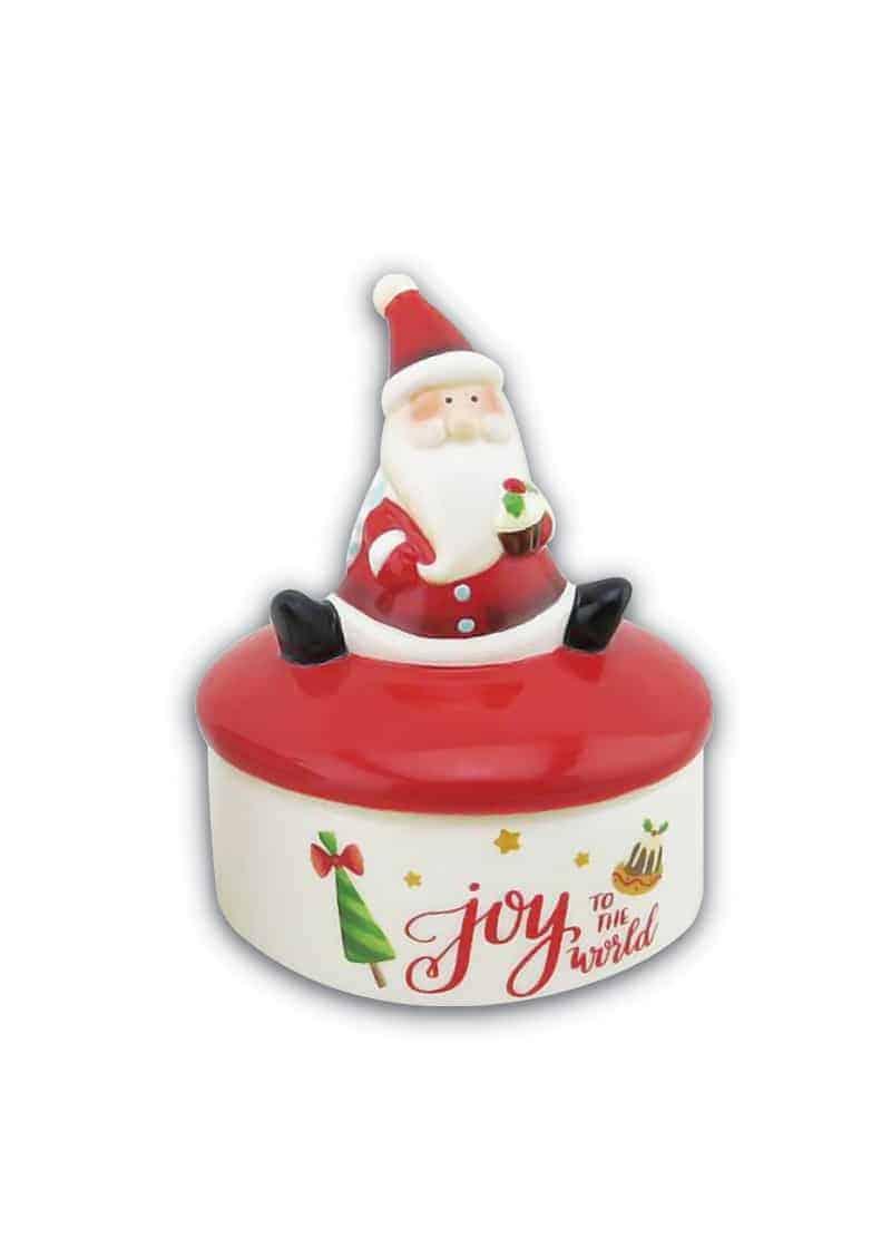 Xmas Jewellery Box with Sitting Santa White 10cm