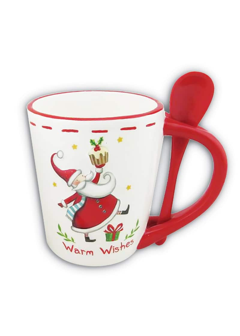 Xmas Mug & Spoon with Santa White Red 13cm