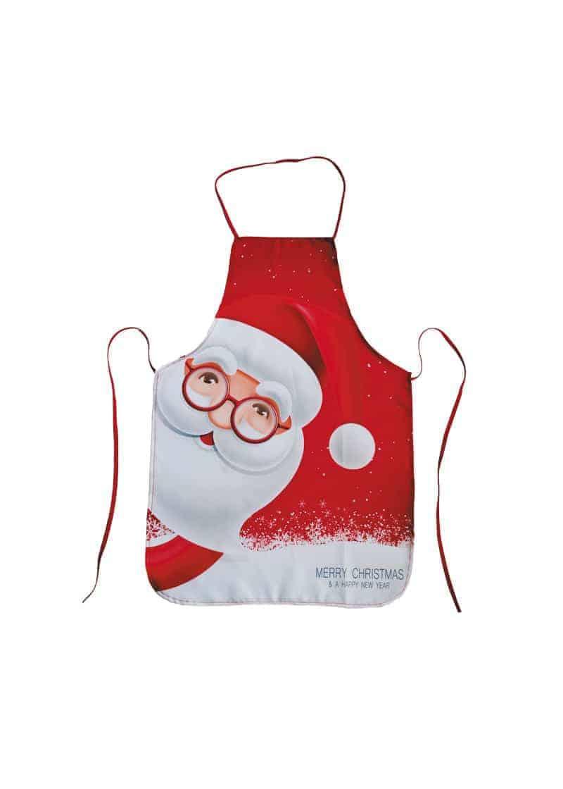 Xmas Apron Red & White with Santa Face 70cm