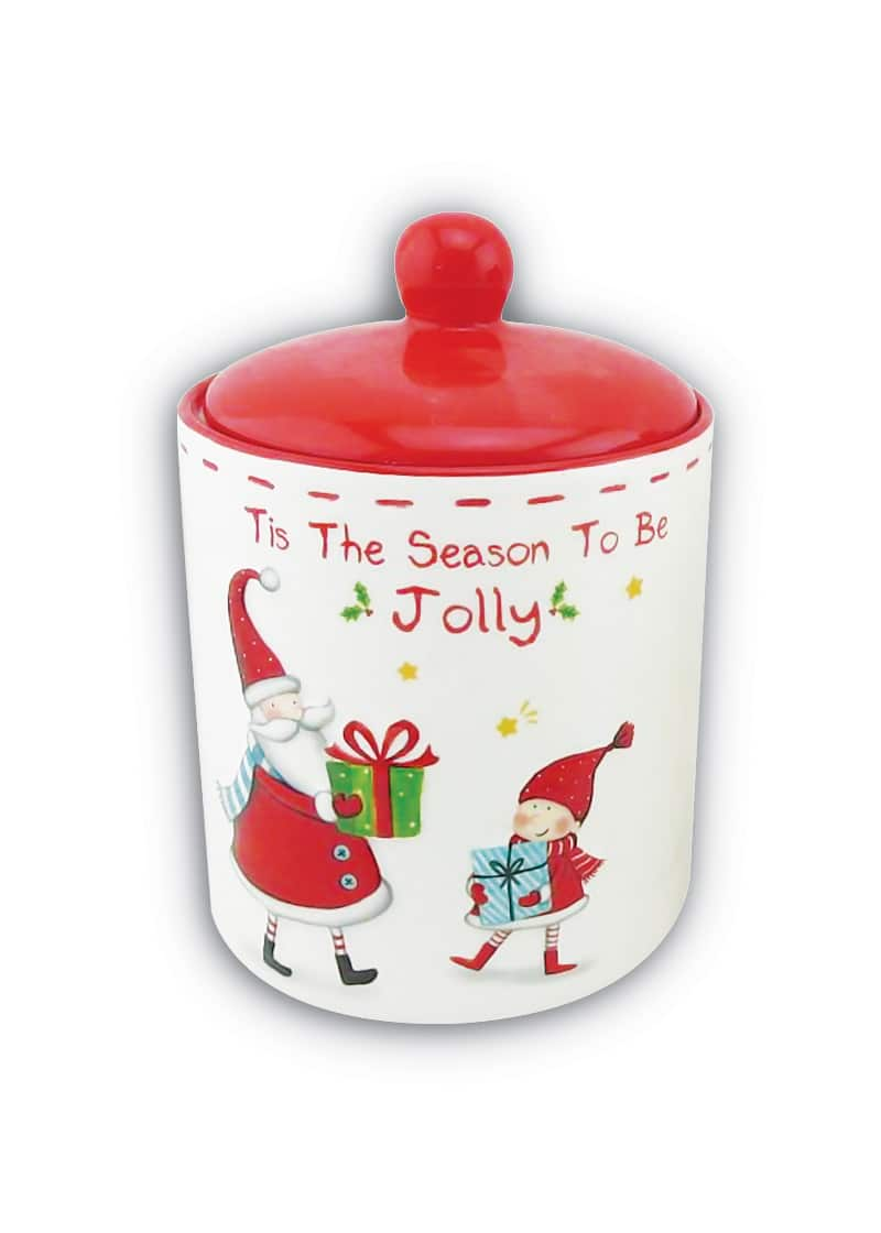 Xmas Cannister Large with Santa&Elf White Red 18cm