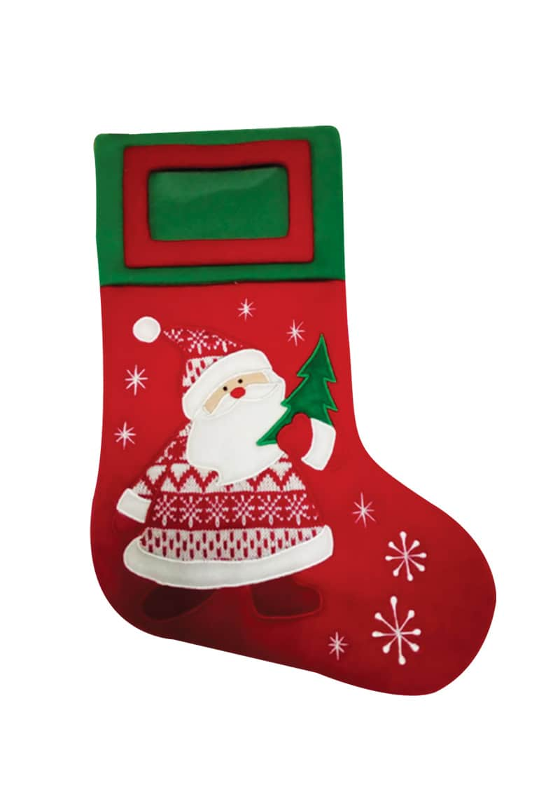 Xmas Stocking Fleece Red Embroided Santa & Frame