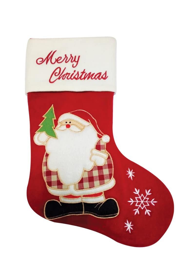 Xmas Stocking Fleece Dark Red Santa Merry 49cm
