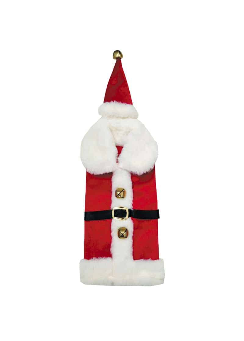 Xmas Wine Santa Outfit with Hat Red & White