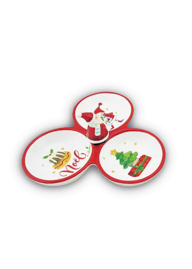 Xmas Bowl 4 Divided Snack Santa Tree Cake 20cm